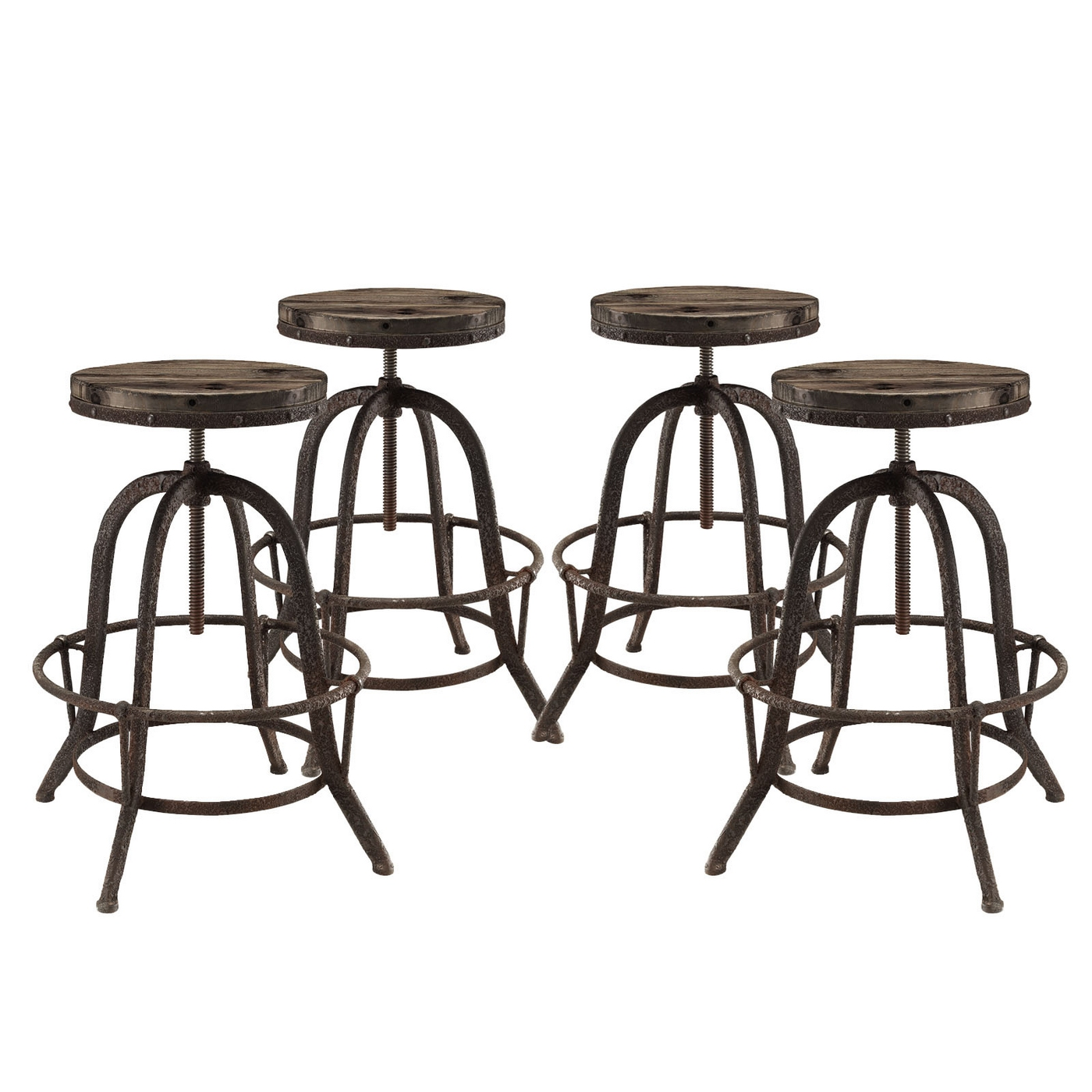 Set Of 4 Collect Industrial Bar Stool Wwood Seat amp Cast  : set of 4 collect industrial bar stool w wood seat cast iron frame brown 1 from shopfactorydirect.com size 1400 x 1400 jpeg 403kB