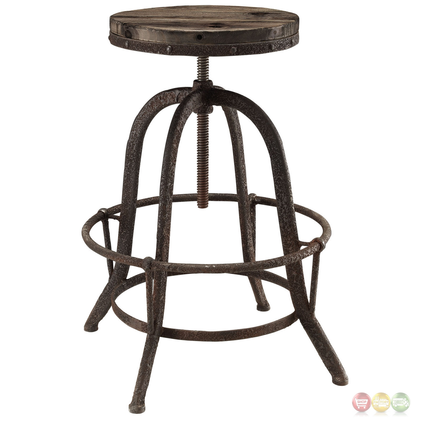 Set Of 4 Collect Industrial Bar Stool W Wood Seat Amp Cast