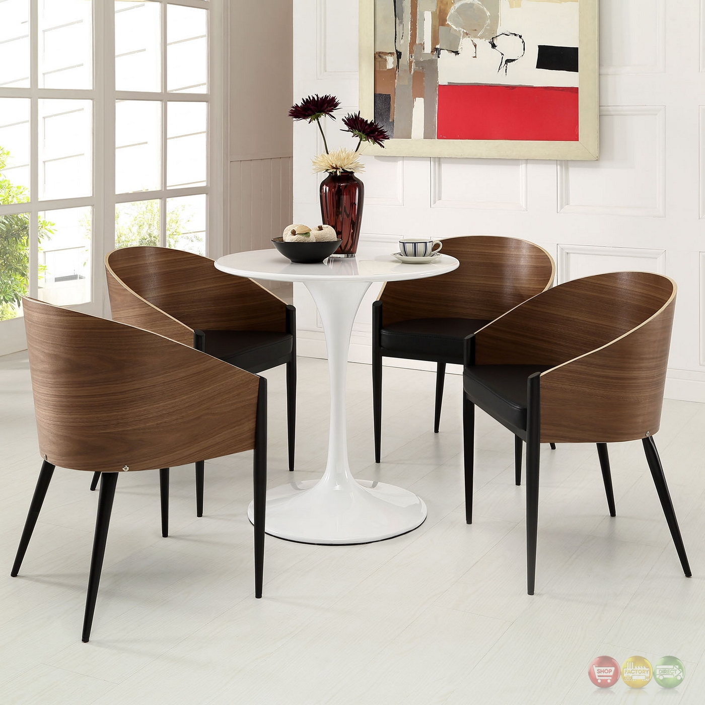 Set Of 4, Cooper Wood Grain Wide Curved Back Dining Chairs ...