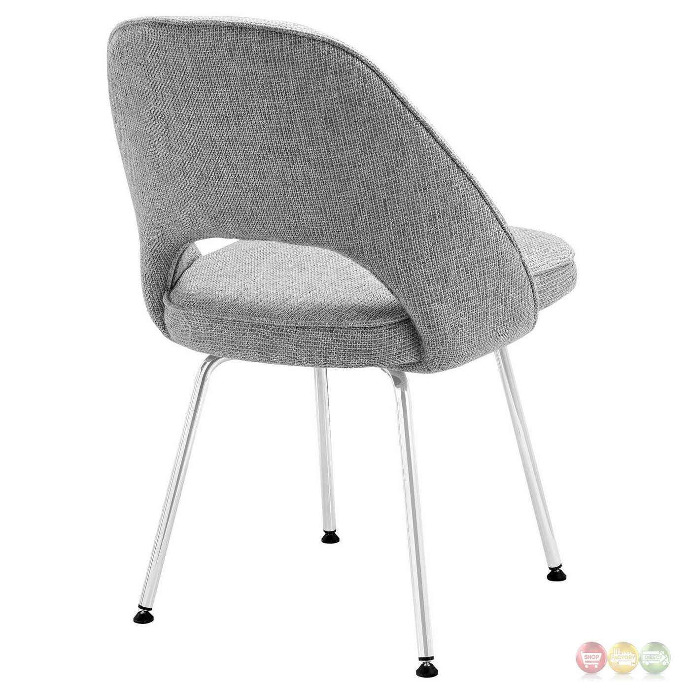 Set Of 4 Cordelia Tweed Upholstered Dining Chairs With  : set of 4 cordelia tweed upholstered dining chairs with chrome legs light gray 7 from shopfactorydirect.com size 1400 x 1400 jpeg 501kB