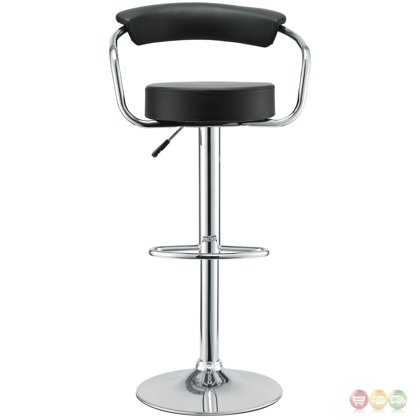 Set Of 4 Diner Modern Vinyl Upholstered Low Back Bar Stool