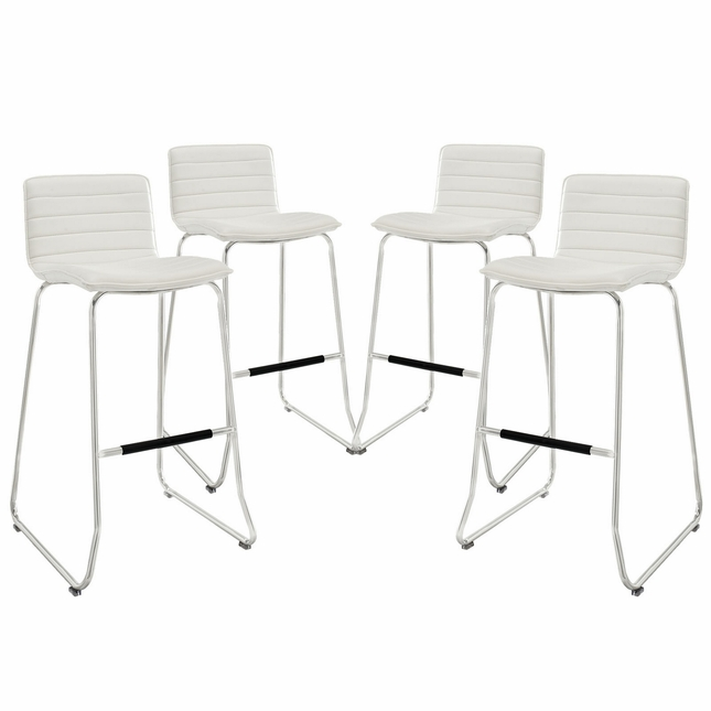 Set Of 4, Dive Ribbed Vinyl Bar Stool w/ Foot Stretcher In Chrome Finish, White