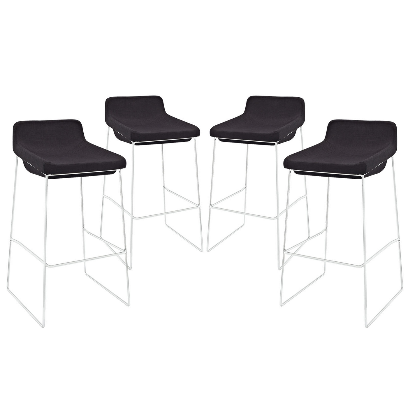 Set Of 4 Garner Contemporary Upholstered Bar Stool With  : set of 4 garner contemporary upholstered bar stool with chrome frame black 3 from shopfactorydirect.com size 1400 x 1400 jpeg 201kB