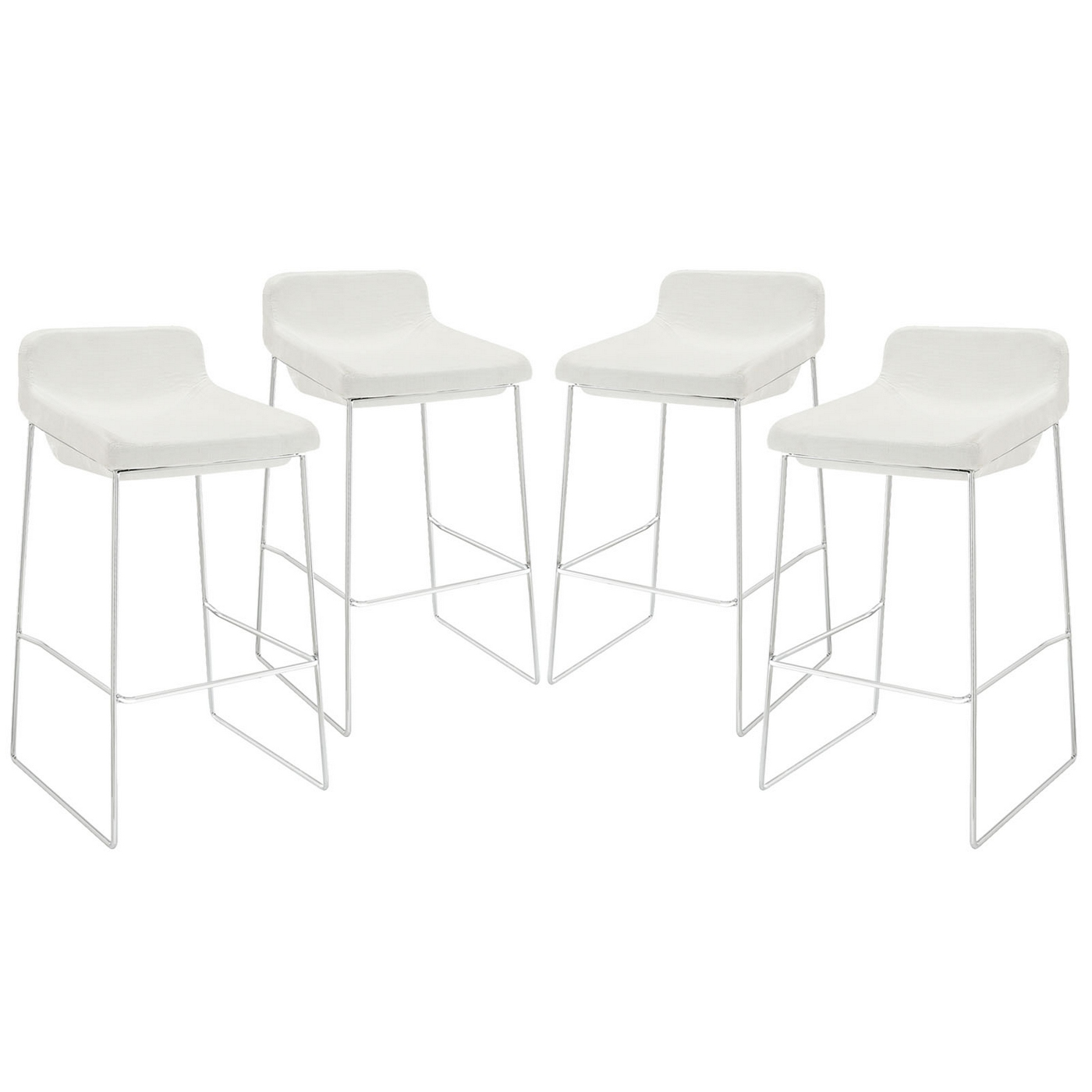 Set Of 4 Garner Contemporary Upholstered Bar Stool With  : set of 4 garner contemporary upholstered bar stool with chrome frame white 2 from shopfactorydirect.com size 1400 x 1400 jpeg 174kB