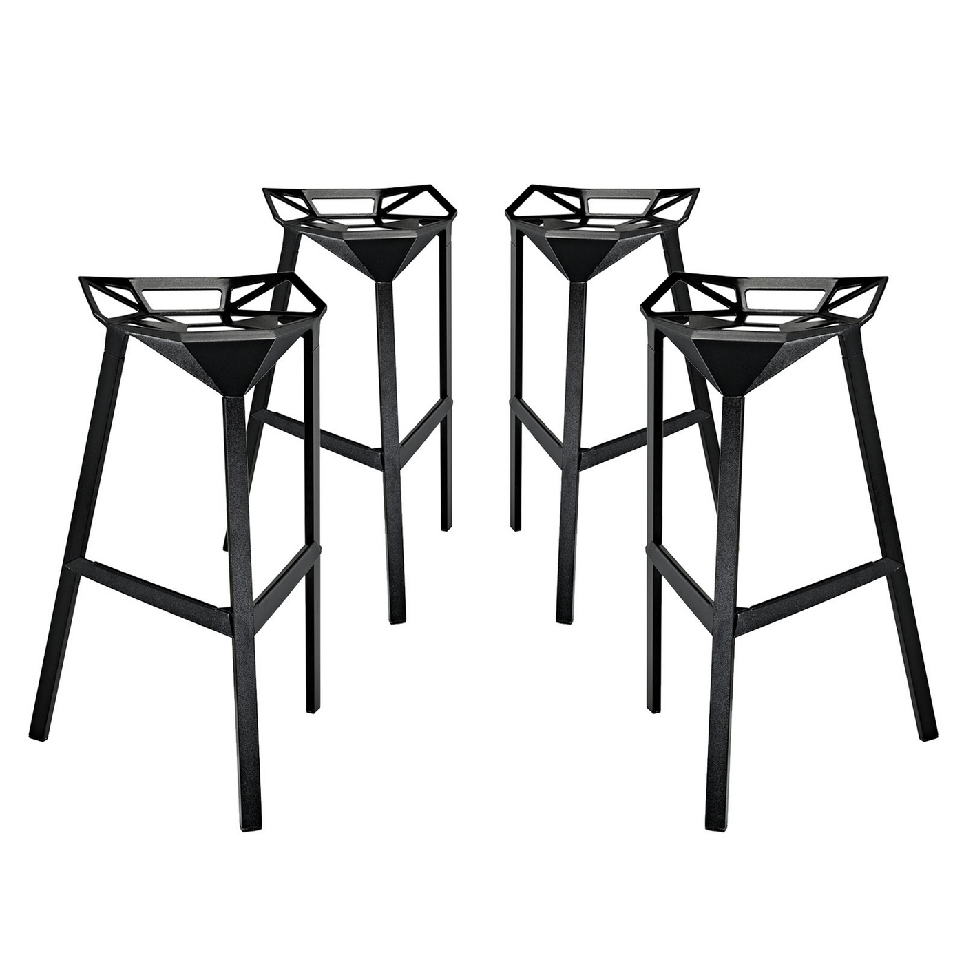 Set Of 4 Launch Geometrical Stacking Bar Stool W Coated