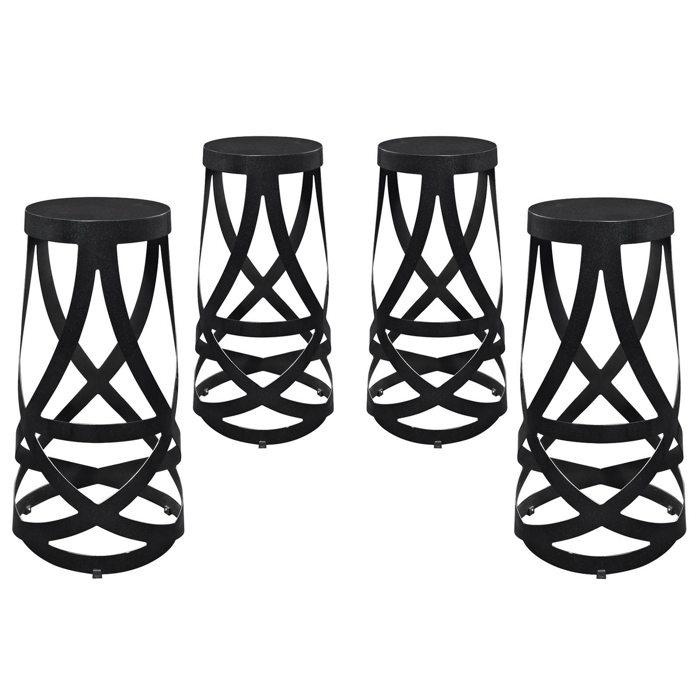 Set Of 4 Ribbon Contemporary Bar Stool In Coated Steel