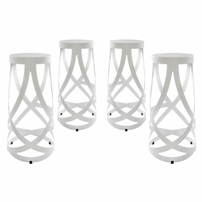 Set Of 4, Ribbon Contemporary Bar Stool In Coated Steel Finish, White