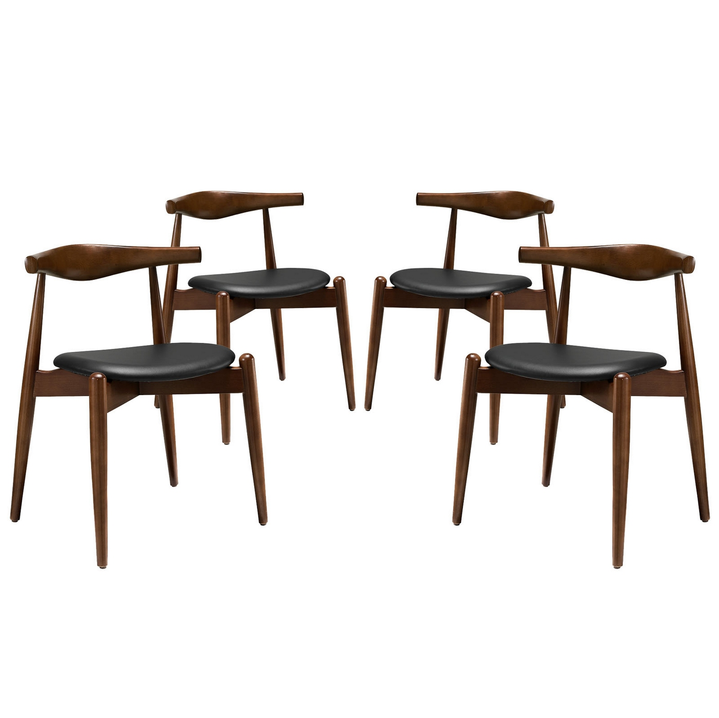Wonderful image of  Wood Dining Side Chairs w/ Upholstered Seats Dark Walnut Black with #623F28 color and 1400x1399 pixels