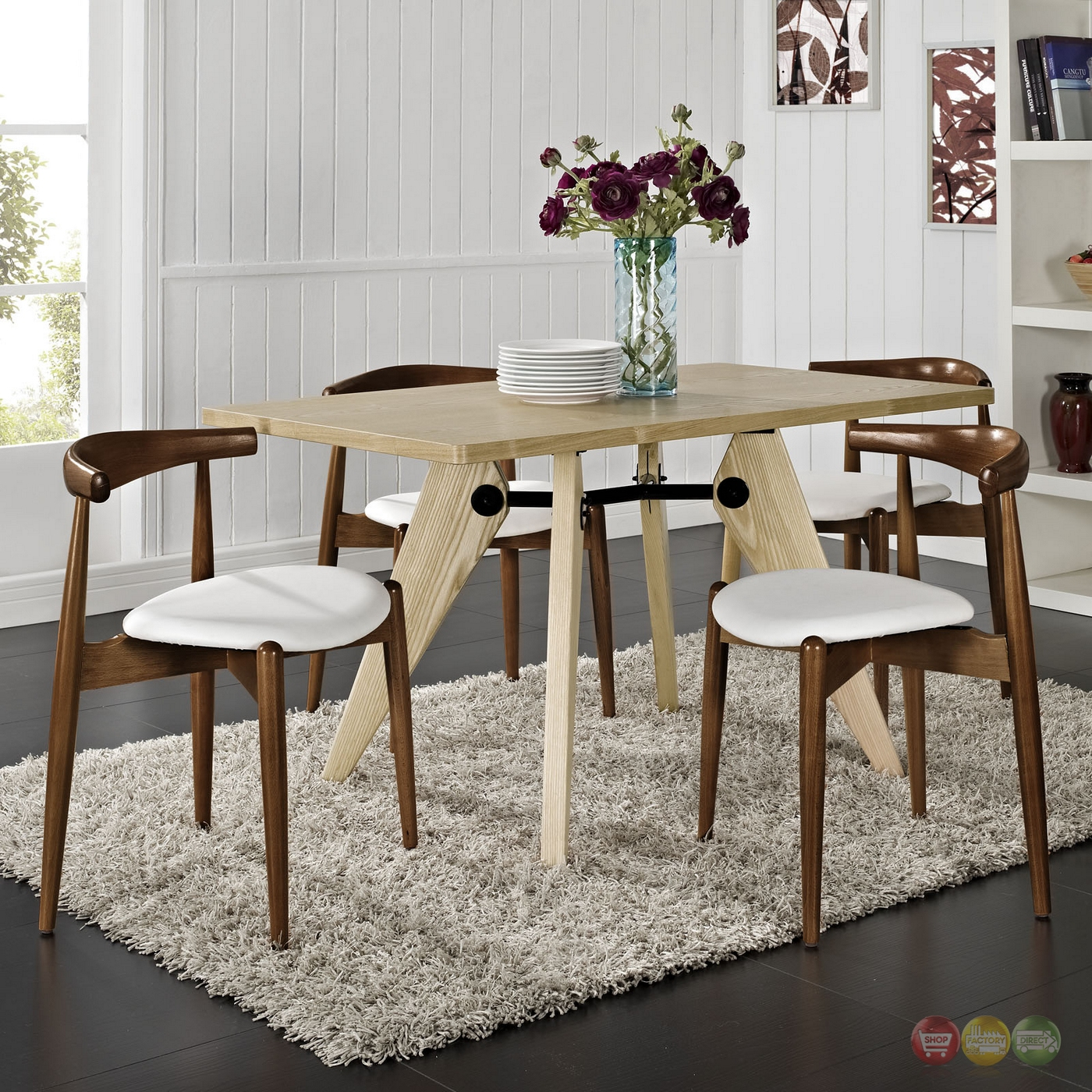 Wonderful image of  Wood Dining Side Chairs w/ Upholstered Seats Dark Walnut White with #63432F color and 1400x1400 pixels