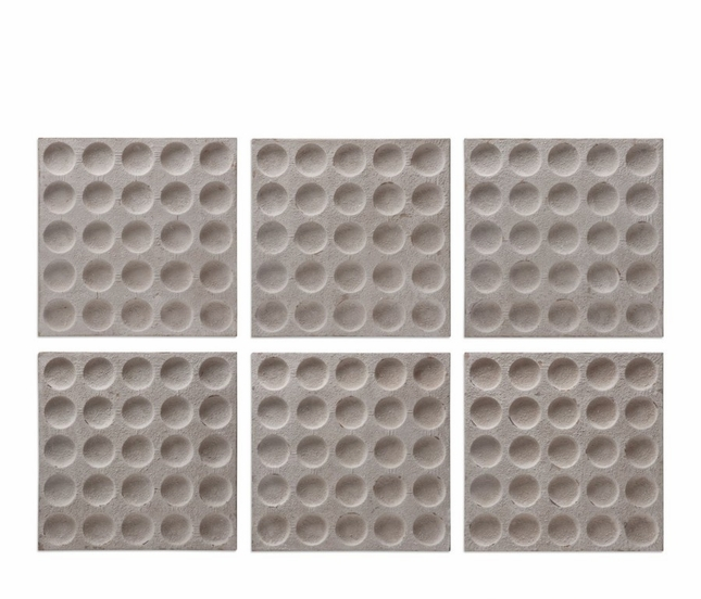 Set Of 6, Rogero Square Concaved Iron Wall Art In Antique Stone White Finish