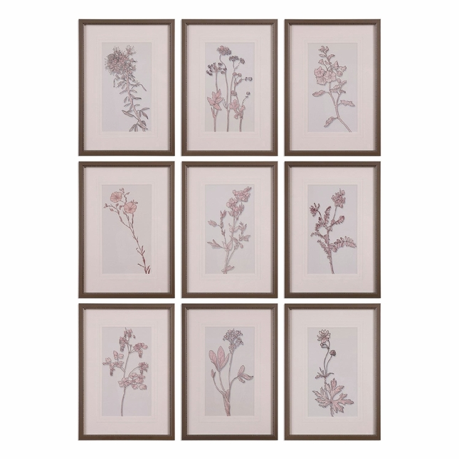 """Set Of 9, Country Style Spring Delights Floral Wall Art In Pewter Frame, 17""""x24"""""""