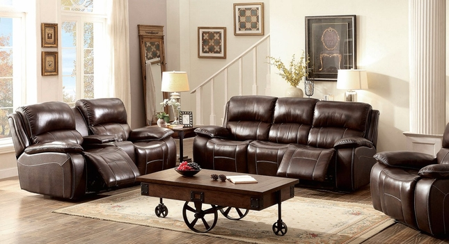 Seth Transitional Brown Dual Reclining Sofa & Loveseat In Top Grain Leather