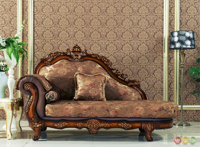 Seville Golden Beige Chaise With Cherry Finished Floral