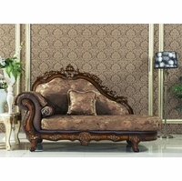 Seville Golden Beige Chaise With Cherry Finished Floral Wood Carvings