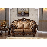 Seville Golden Beige Loveseat With Cherry Finished Floral Wood Carvings