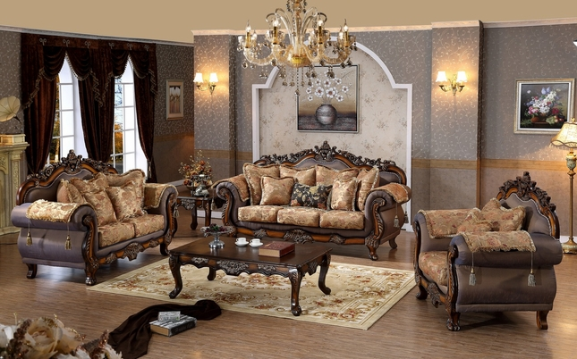 Seville Golden Beige Sofa & Loveseat With Cherry Finished Floral Wood Carvings
