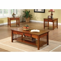 Seville Mission Antique Oak Accent Tables Set with Drawer and Open Shelf