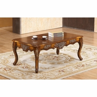 Seville Warm Cherry Coffee Table With Floral Wood Carvings