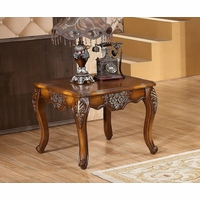 Seville Warm Cherry End Table With Floral Wood Carvings