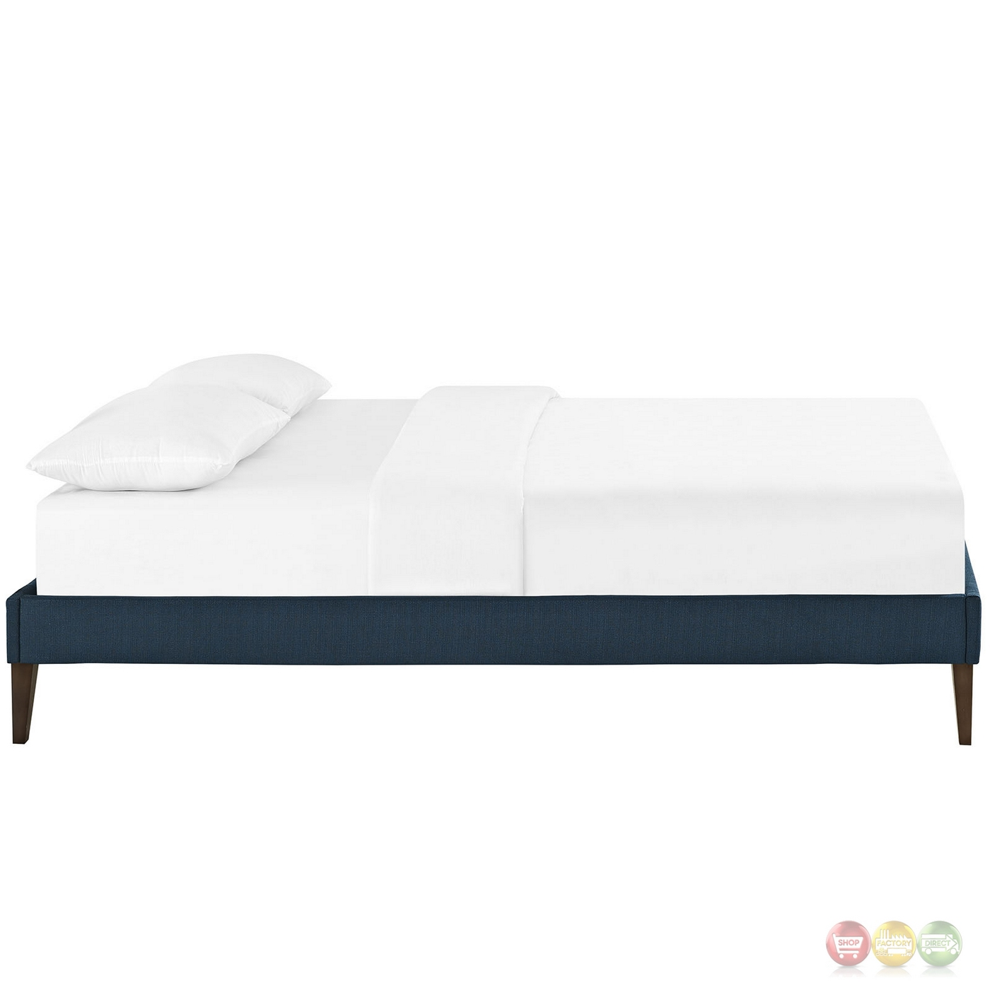sharon modern king fabric platform bed frame with square legs azure