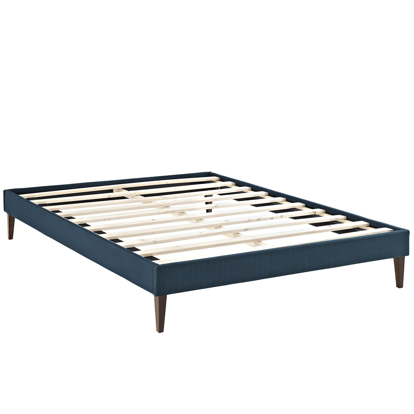 sharon modern queen fabric platform bed frame with square legs azure