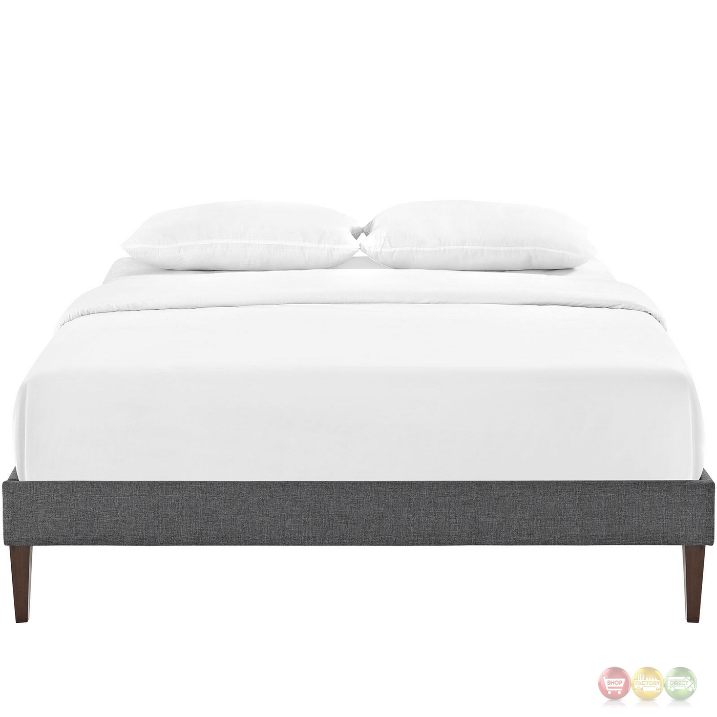 sharon modern queen fabric platform bed frame with square legs gray