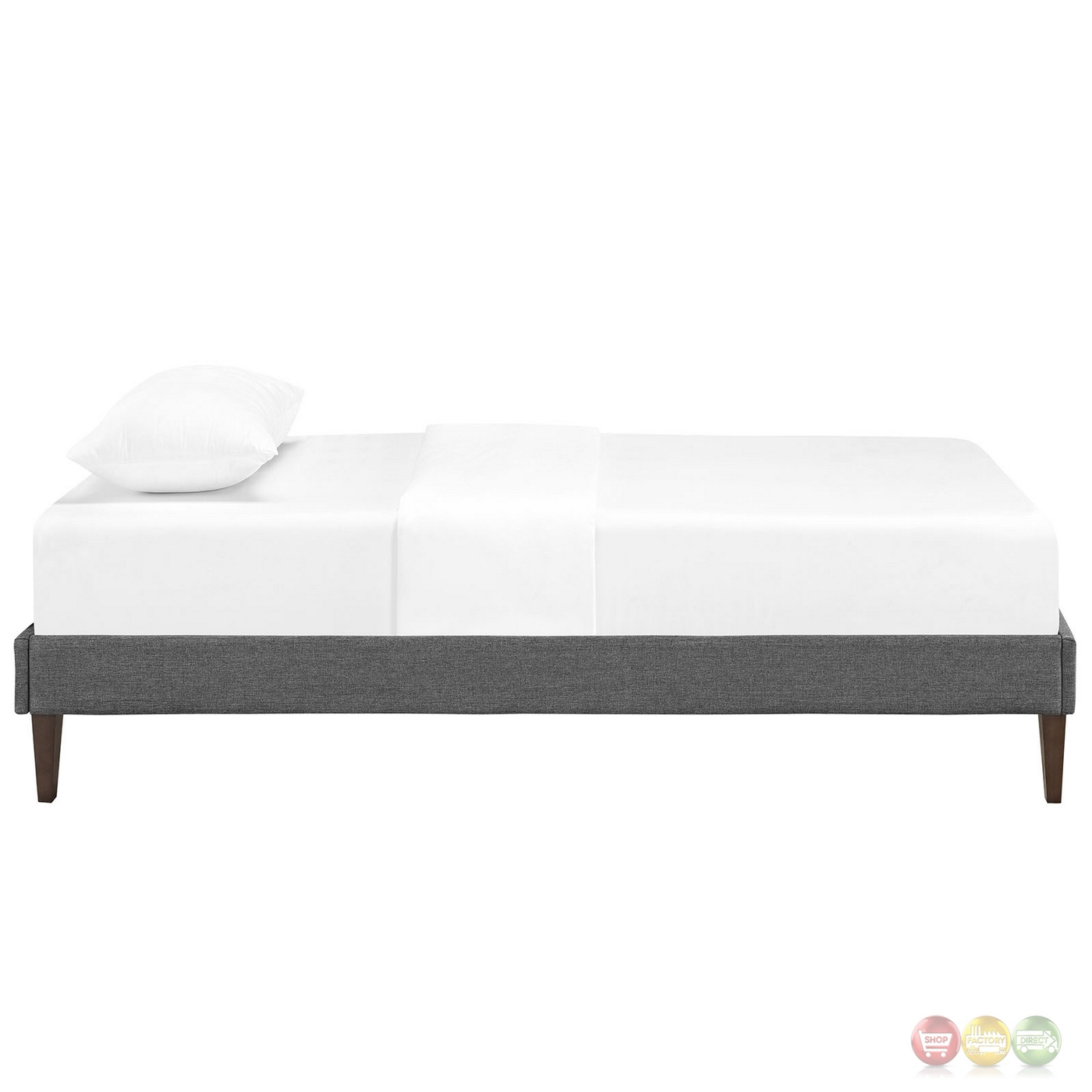 sharon modern twin fabric platform bed frame with square legs gray