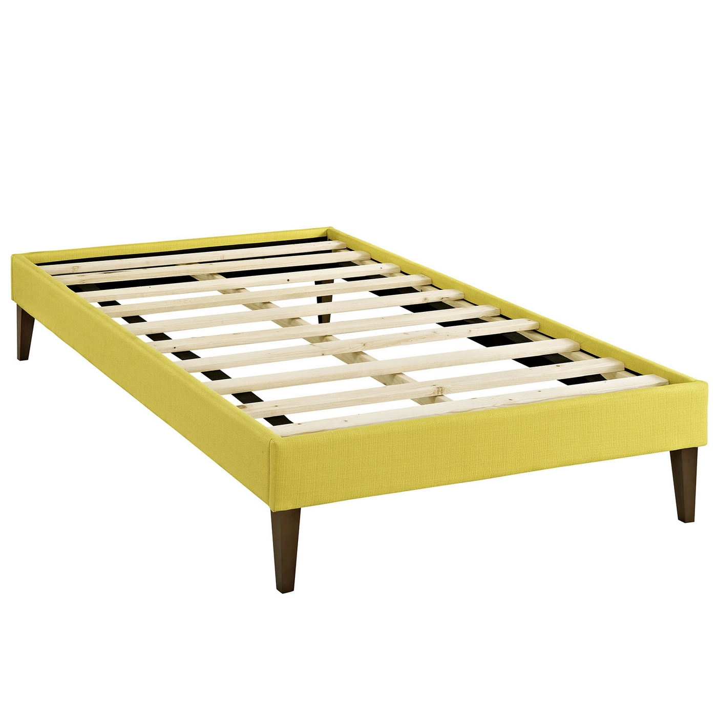 sharon modern twin fabric platform bed frame with square legs sunny
