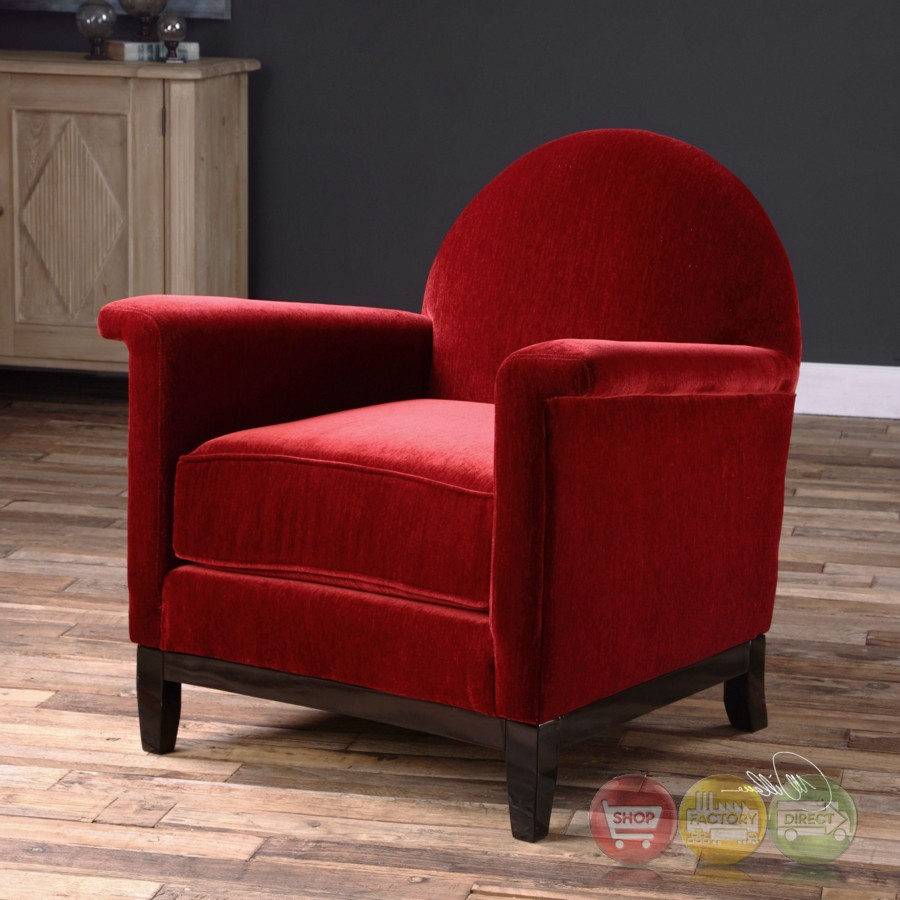 Cherry Red Country Accent Chair: Sheelah Bold Cherry Red Accent Chair In Plush Chenille
