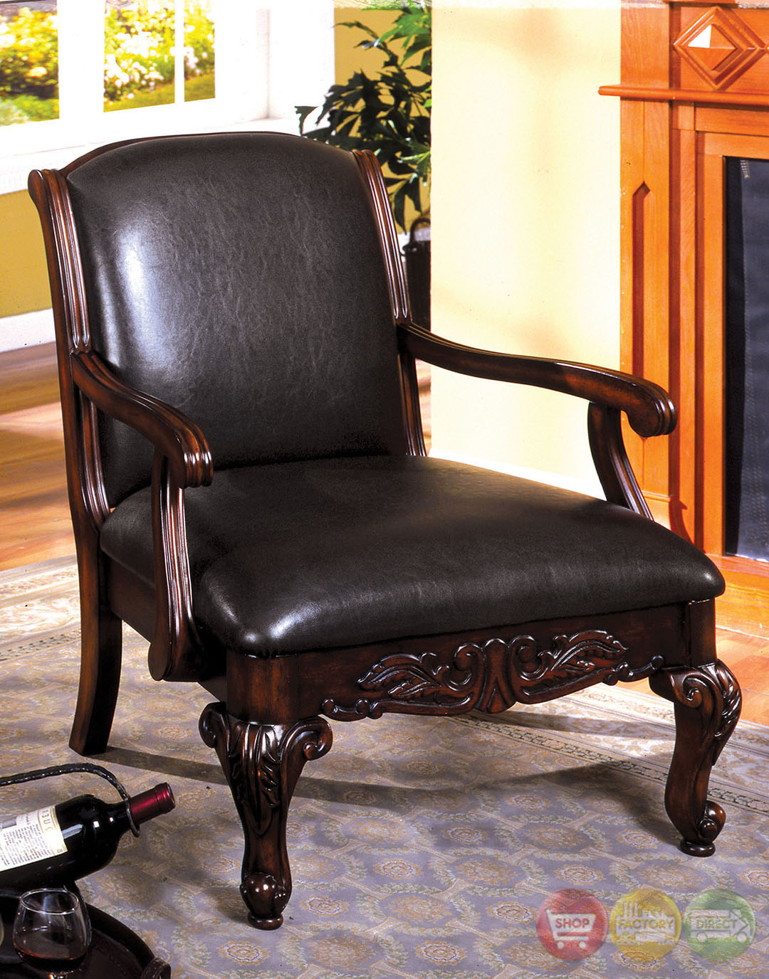 Sheffield Antique Dark Cherry Accent Chair Cm Ac6177 Pu