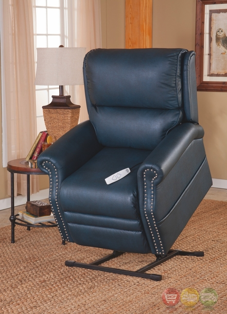 Sheffield kelp blue reclining lift chair with backup battery