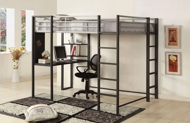 Sherman Contemporary Silver and Gun Metal Full Bed with Workstation
