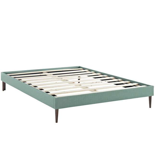 Sherry Upholstered Fabric King Platform Bed Frame, Laguna