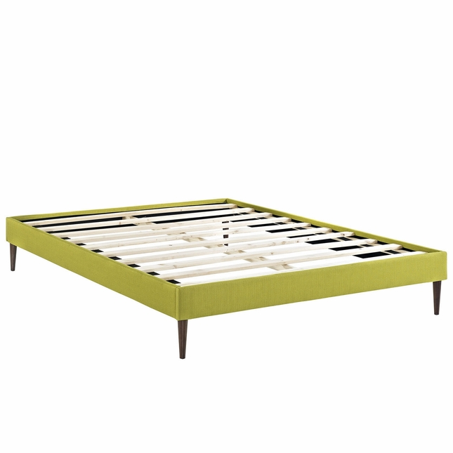 Sherry Upholstered Fabric King Platform Bed Frame, Wheatgrass