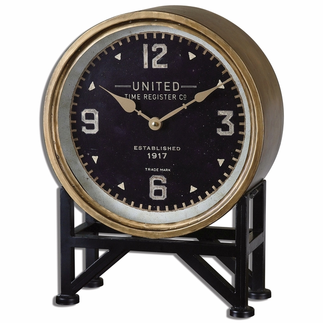 "Shyam Traditional Brass Finished Metal with Aged Black Table Clock 12""x16"" 06094"