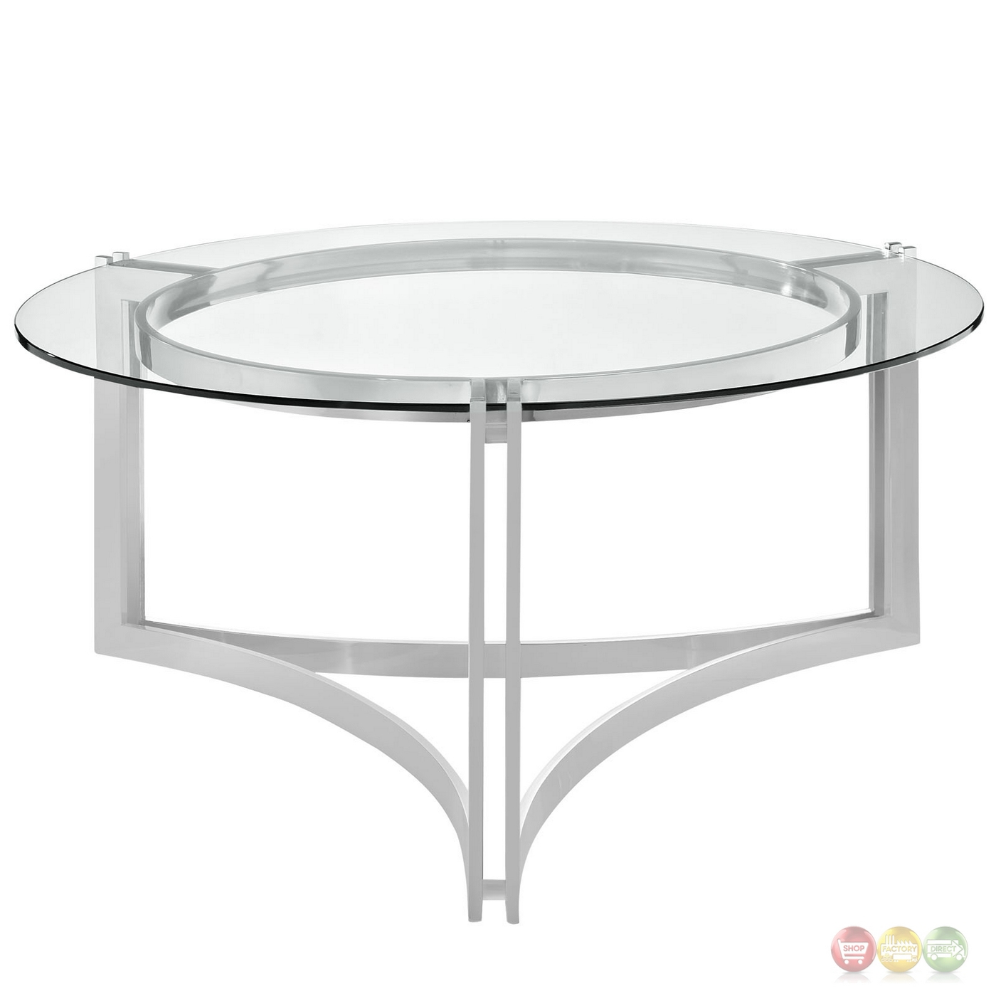 Silver Metal And Glass Coffee Table: Signet Modern Stainless Steel Coffee Table W/ Round