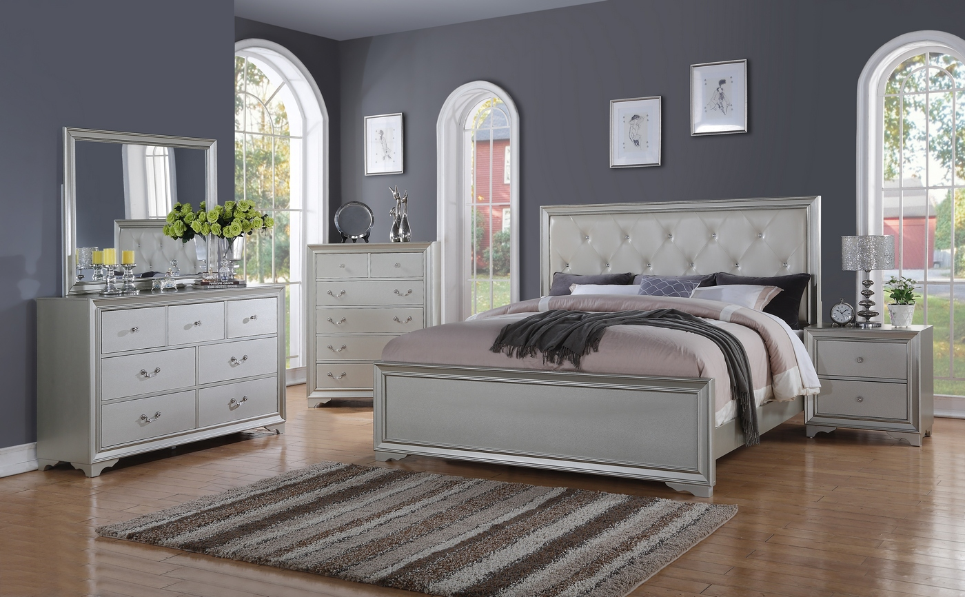 silver chic contemporary king bed with rhinestone leather