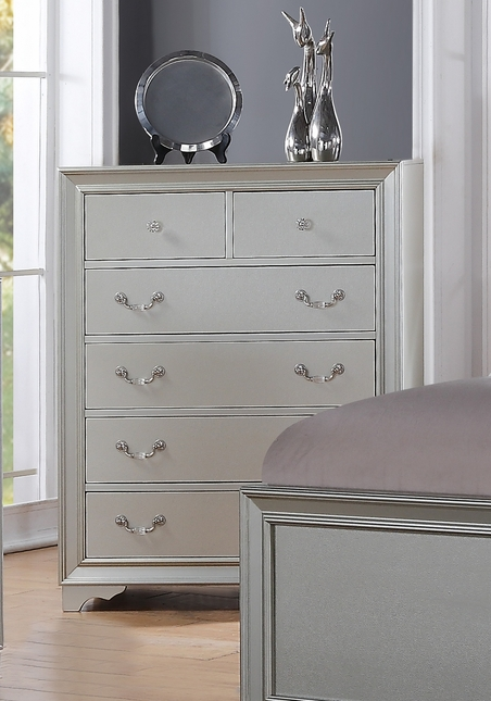 Silver Chic Contemporary 6-Drawer Silver Chest With Framed Design