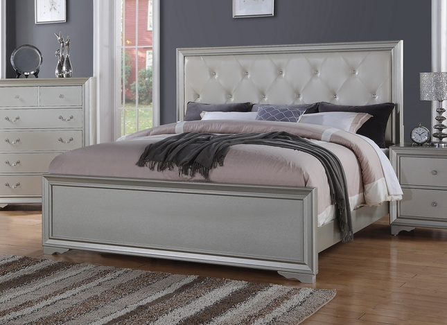 Silver Chic Contemporary King Bed With Rhinestone Leather Headboard
