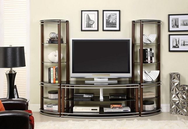 Silver Creek Contemporary Brown and Silver TV Console with Matching Pier Shelf