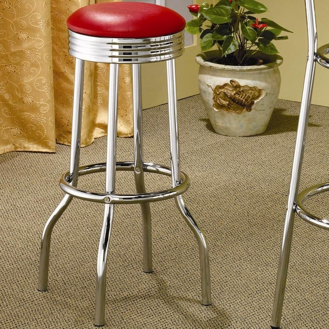 Silver Finish Red Upholstery Chrome Plated Bar Stool