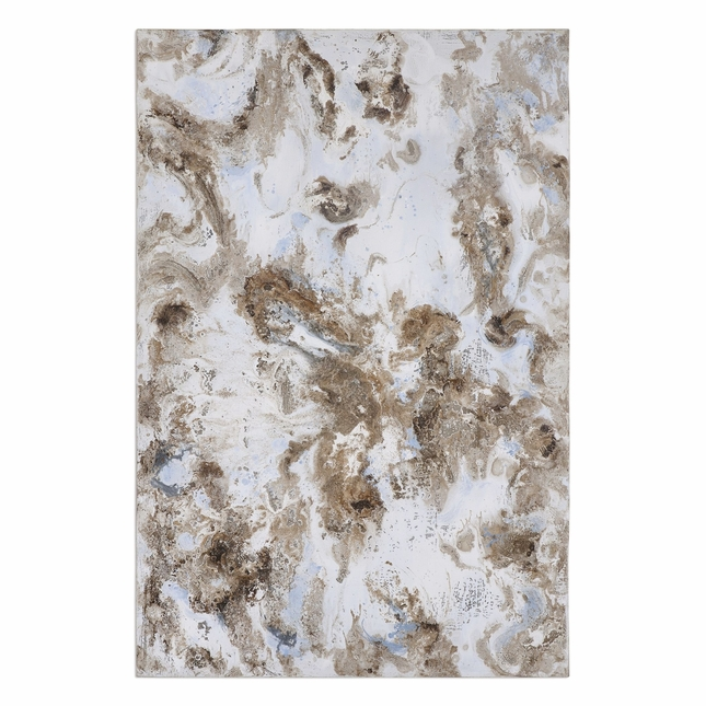 """Silver Gray Handpainted Dust Storm Abstract Art On Rectangular Canvas, 40""""x60"""""""