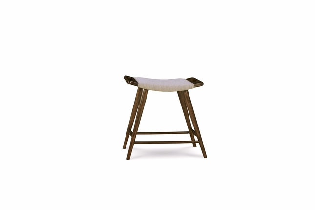 Silver Lake Grey Upholstered Counter Height Stool with Walnut Finish