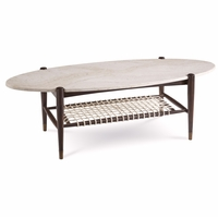 Silver Lake Stone Surfboard Cocktail Table with Woven Shelf and Walnut Finish