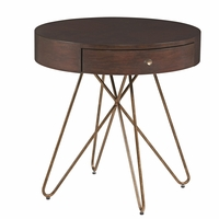Silver Lake Sunset Brass Round Storage End Table With Walnut Finish