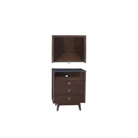 Silver Lake Urban 3-Drawer Brown Walnut Nightstand With Glass Top