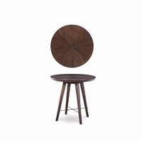 Silver Lake Walnut Finished Round End Table with Fancy Face Veneer