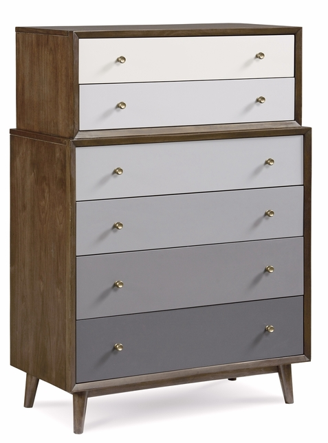 Silver Lakes 6-Drawer Grey Gradient Chest with Walnut Finish
