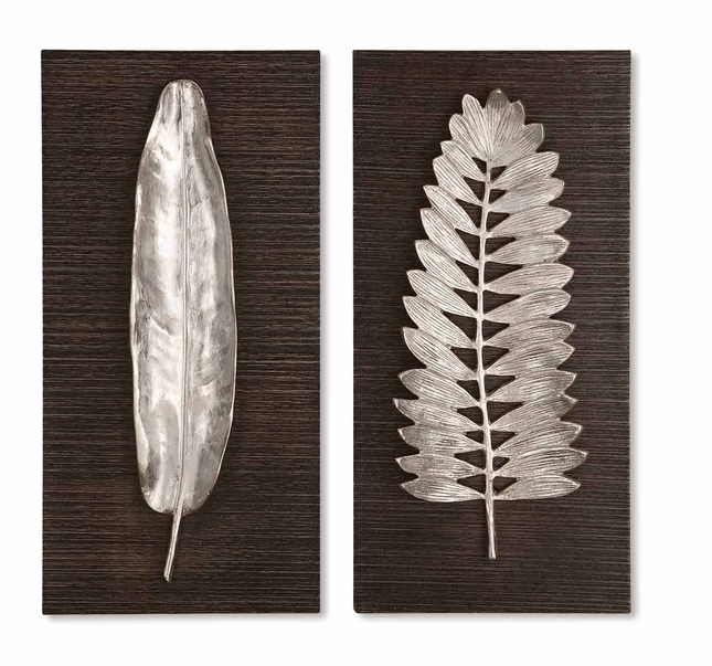 Silver Leaves Traditional Distressed Dark Ebony Stain Art Panels 04001