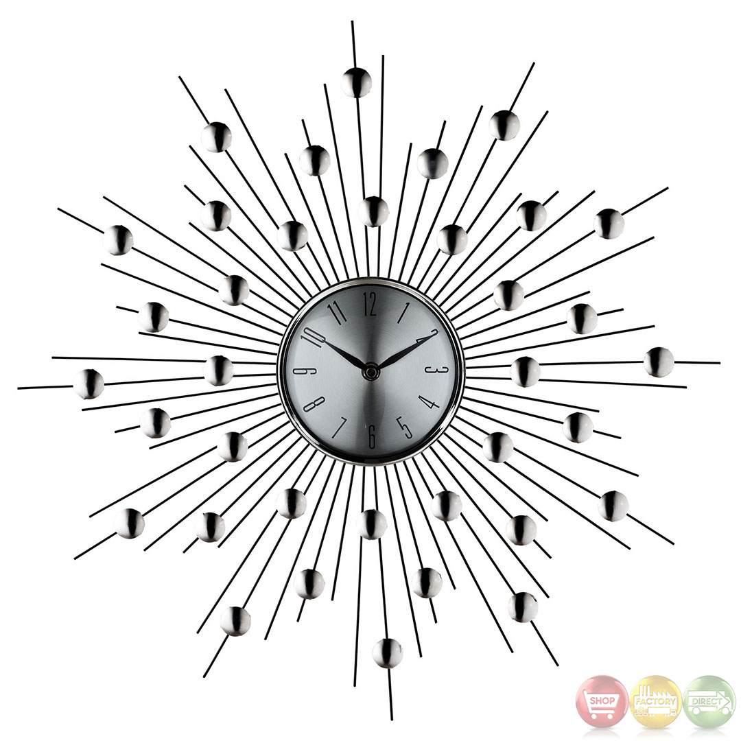 Silver starburst retro modern wall clock eei 761 for Silver wall clocks modern